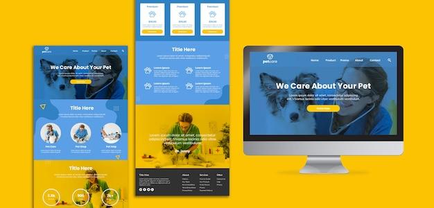 Verschillende sjabloon voor veterinaire bedrijven en scherm