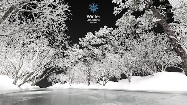 Verschillende winterbomen omgeven het uitknippad van de bevroren stroom