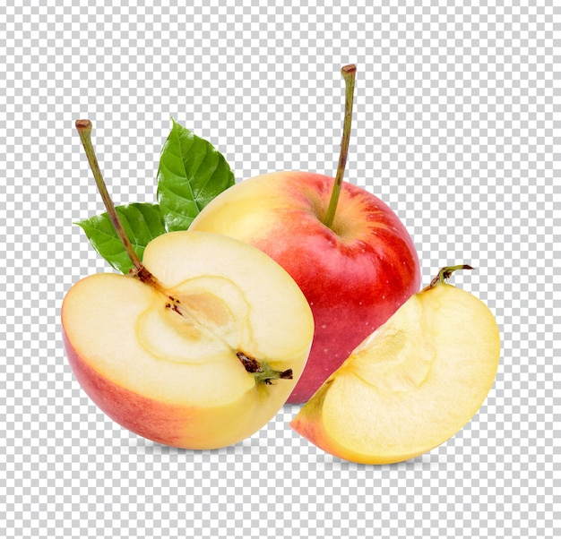 Verse appel met bladeren geïsoleerd premium psd