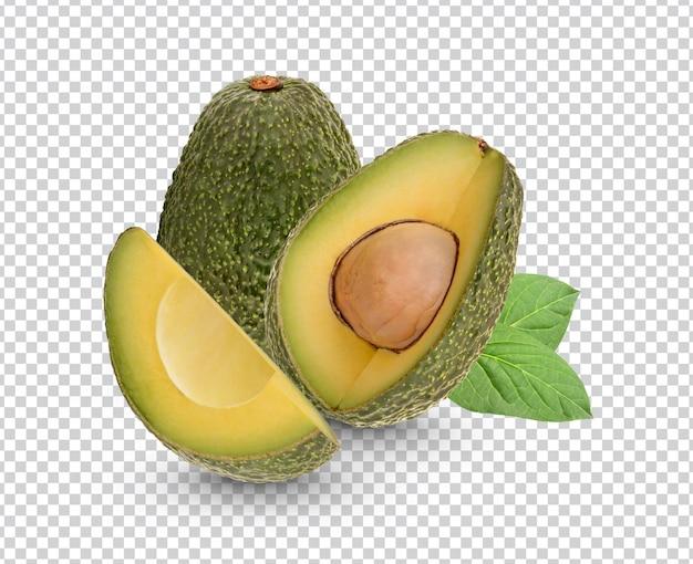 Verse avocado met geïsoleerde bladeren