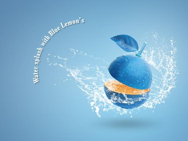 Verse blauwe limoen geïsoleerd op blauwe achtergrond.