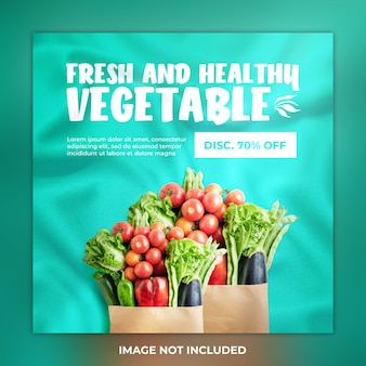 Verse en gezonde groente social media post en instagram template