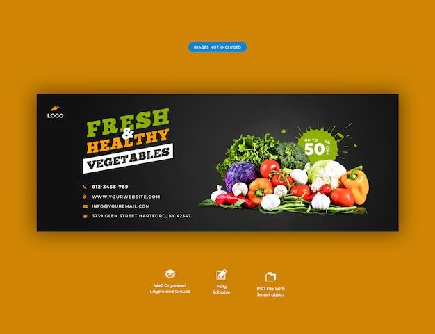 Verse gezonde sociale media banner van de kruidenierswinkelverkoop