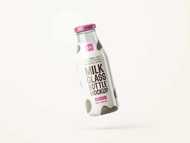 Verse melk glazen fles mockup