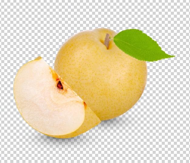 Verse peren met bladeren het geïsoleerde teruggeven