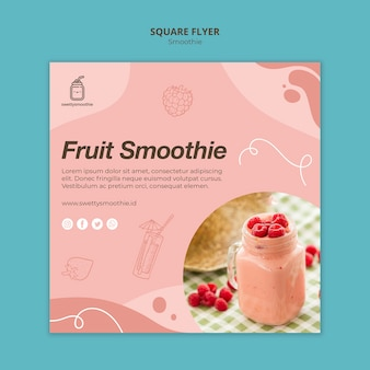 Verse smoothie vierkante flyer met foto