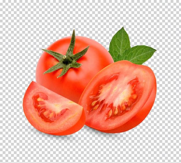 Verse tomaten met geïsoleerde bladeren