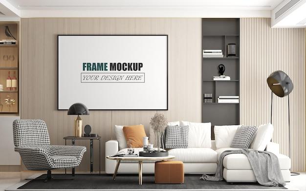 Versier de kamer in een frame-mockup in moderne stijl