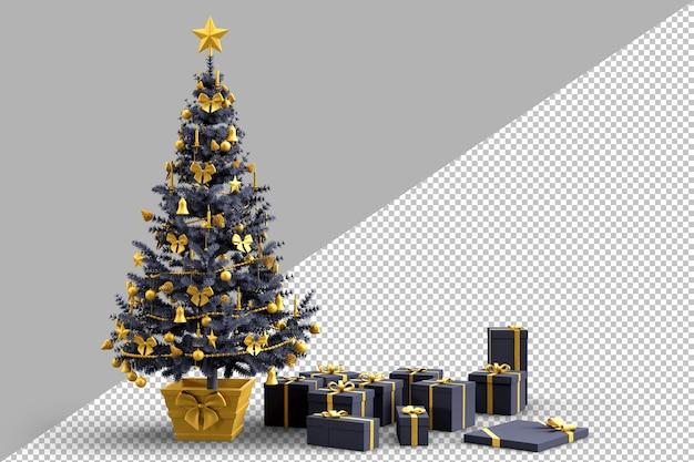 Versierde kerstboom met geschenkdozen
