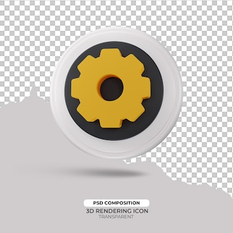 Versnelling 3d render pictogram teken