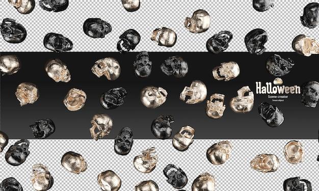 Verspreid van zwart metallic en gouden schedels 3d halloween prop