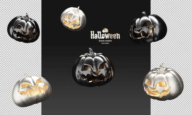 Verspreid van zwart metallic en spookachtige pompoen 3d halloween-prop