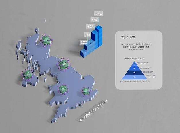 Verspreiding van coronaviruskaart verenigd koninkrijk