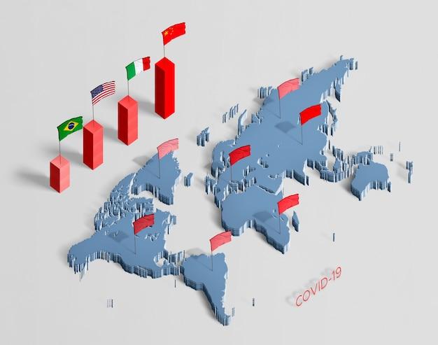 Verspreiding van de coronaviruskaart over de hele wereld