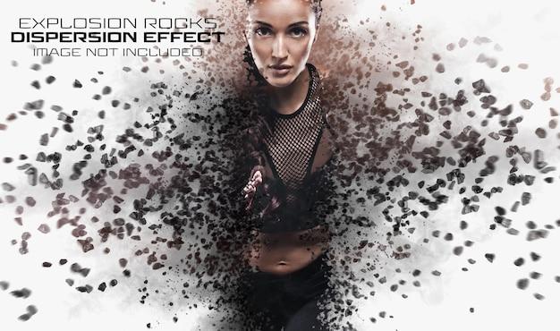 Verspreidingsfoto-effect met rock explosion mockup