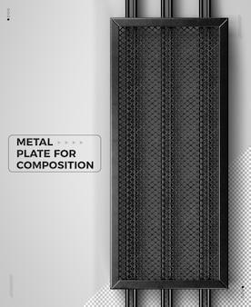 Verticaal realistisch 3d metalen vierkant raster voor composities