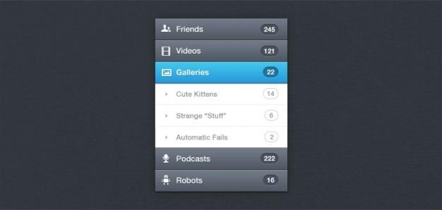 Vertical navigation menu (psd)