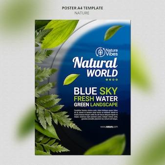 Verticale afdruksjabloon natuur Premium Psd
