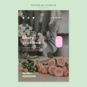 Verticale afdruksjabloon voor bloemenwinkel
