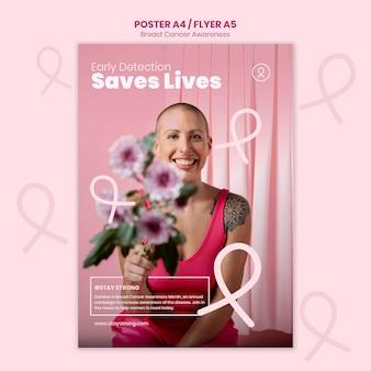 Verticale afdruksjabloon voor borstkankerbewustzijn