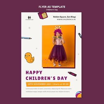 Verticale afdruksjabloon voor kinderdag