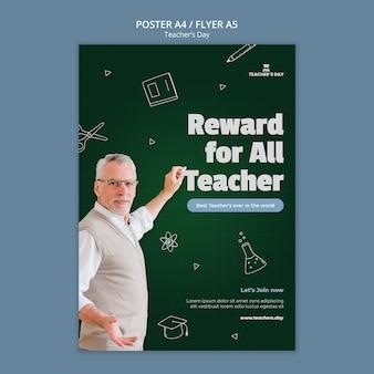 Verticale afdruksjabloon voor lerarendag