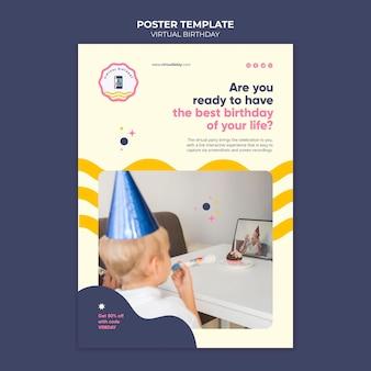 Verticale afdruksjabloon voor virtuele verjaardag