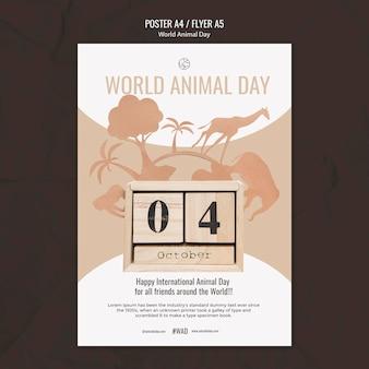 Verticale afdruksjabloon voor werelddierendag