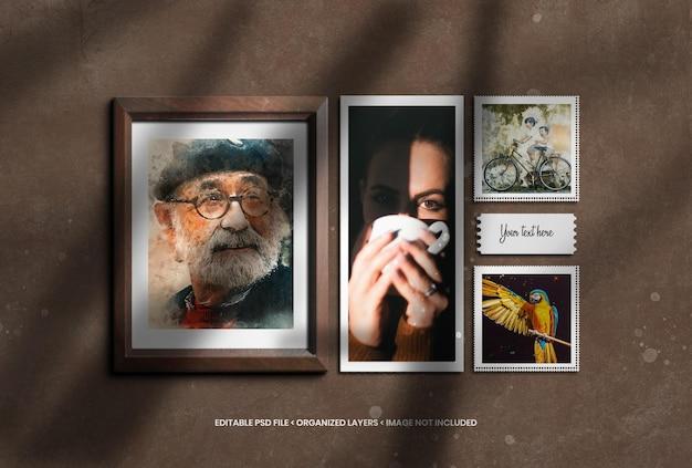 Verticale en vierkante fotolijst met schaduwoverlay