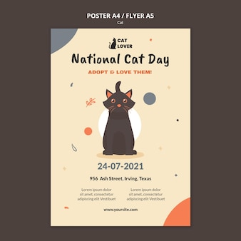 Verticale flyer-sjabloon voor adoptie van katten