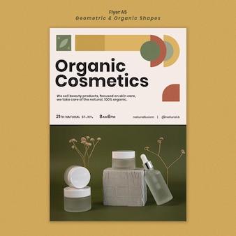 Verticale flyer-sjabloon voor etherische olieflespodium met geometrische vormen