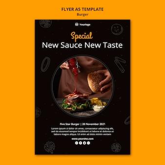Verticale flyer-sjabloon voor hamburger bistro