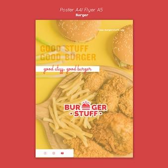 Verticale flyer-sjabloon voor hamburgerrestaurant