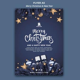 Verticale flyer-sjabloon voor kerstmis en nieuwjaar