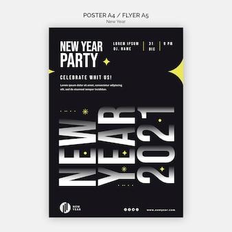 Verticale flyer-sjabloon voor nieuwjaarsfeest