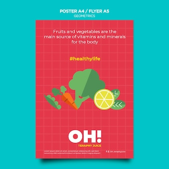 Verticale flyer-sjabloon voor recepten voor fruitsmoothies