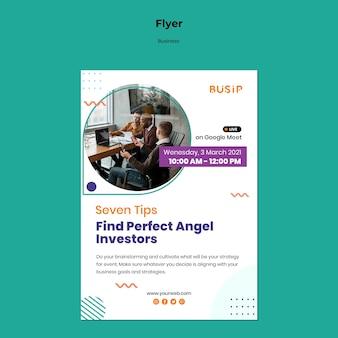Verticale flyer-sjabloon voor webinar en het opstarten van een bedrijf