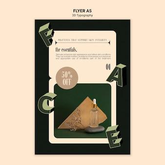 Verticale flyer-sjabloon voor weergave van etherische olieflessen met driedimensionale letters