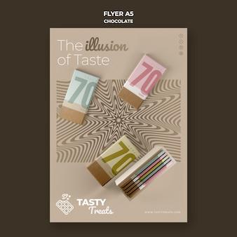 Verticale flyer voor chocolade