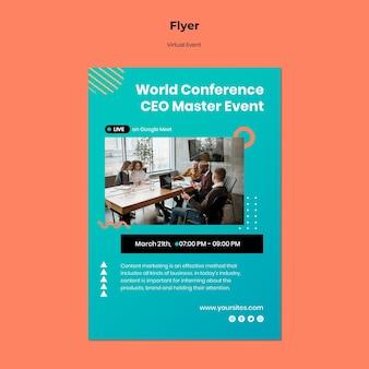 Verticale flyer voor conferentie van ceo-masterevenementen