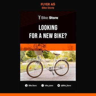 Verticale flyer voor fietsenwinkel