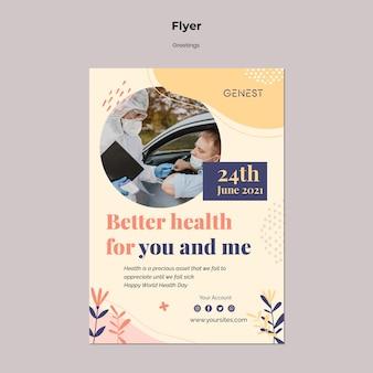 Verticale flyer voor gezondheidszorg met mensen die een medisch masker dragen