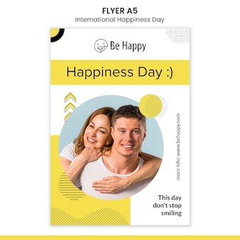 Verticale flyer voor internationale dag van geluk