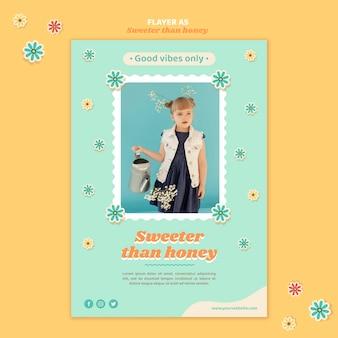 Verticale flyer voor kinderen met bloemen