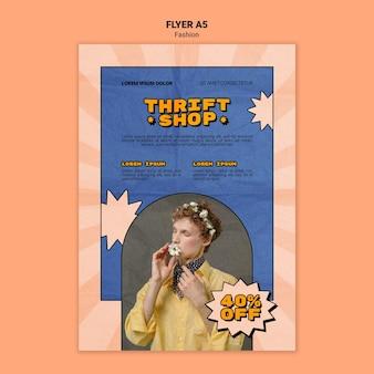 Verticale flyer voor kringloopwinkel mode verkoop