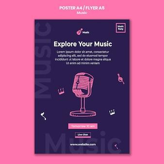 Verticale flyer voor muziekfeest