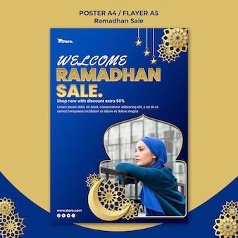 Verticale flyer voor ramadan-verkoop