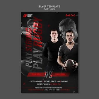 Verticale flyer voor rugbysporten