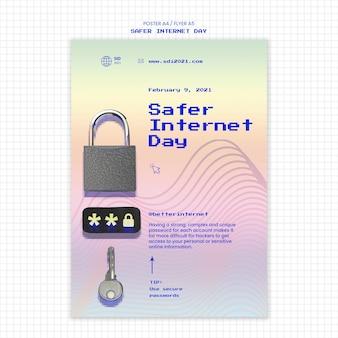 Verticale flyer voor veiliger dagbewustzijn op internet