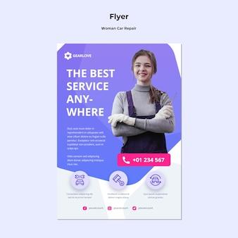 Verticale flyer voor vrouwelijke automonteur
